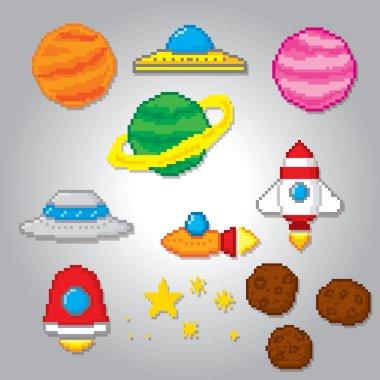 Space icons set. Pixel art.