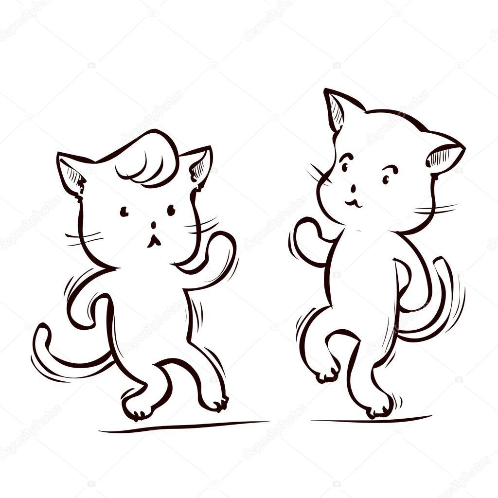Dibujos animados de dos gatos bailando — Archivo Imágenes ...