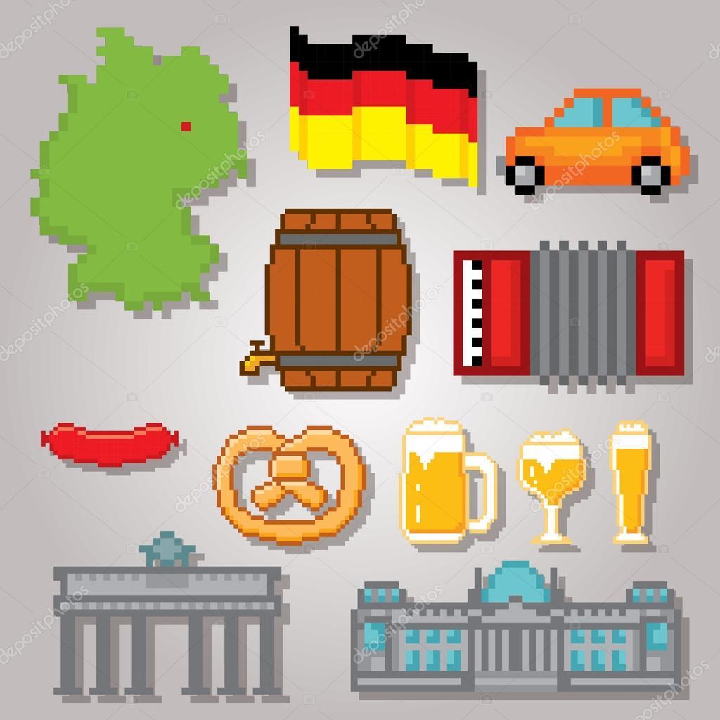 German Culture Symbols Icons Set Stock Vector Dergriza 107731970