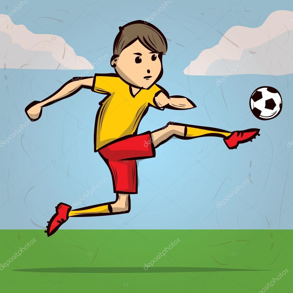 Giocatore di calcio cartone animato u vettoriali stock dergriza