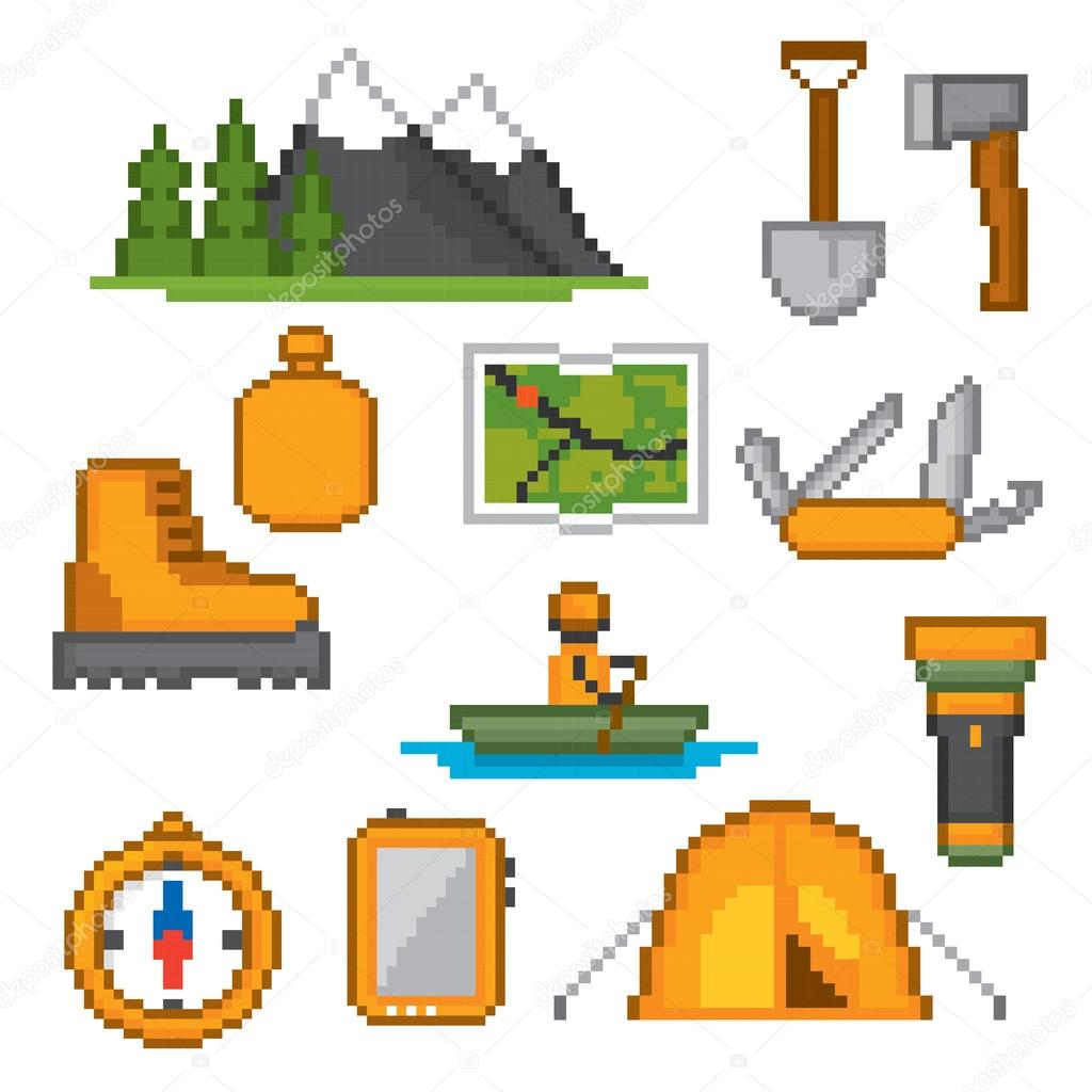 Camping and hiking icons set