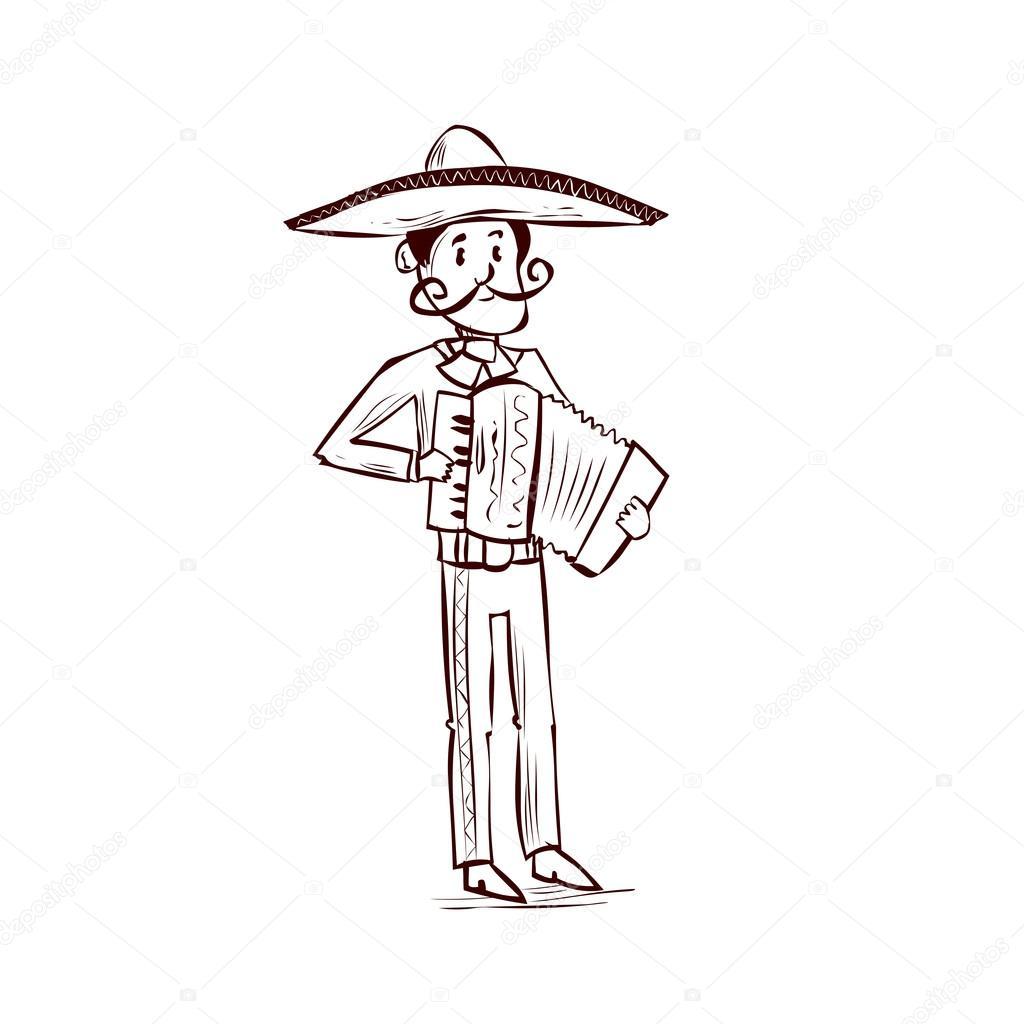 Hombre Mexicano Mariachi Tocando En Acordeón Vector De Stock