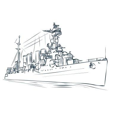 Hand drawn Russian warship