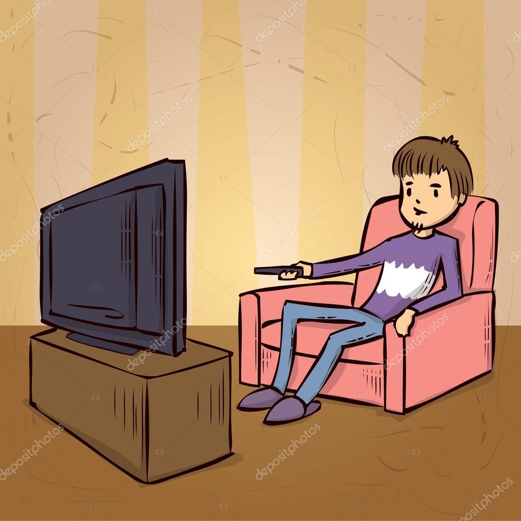 Картинка как ребенок смотрит телевизор