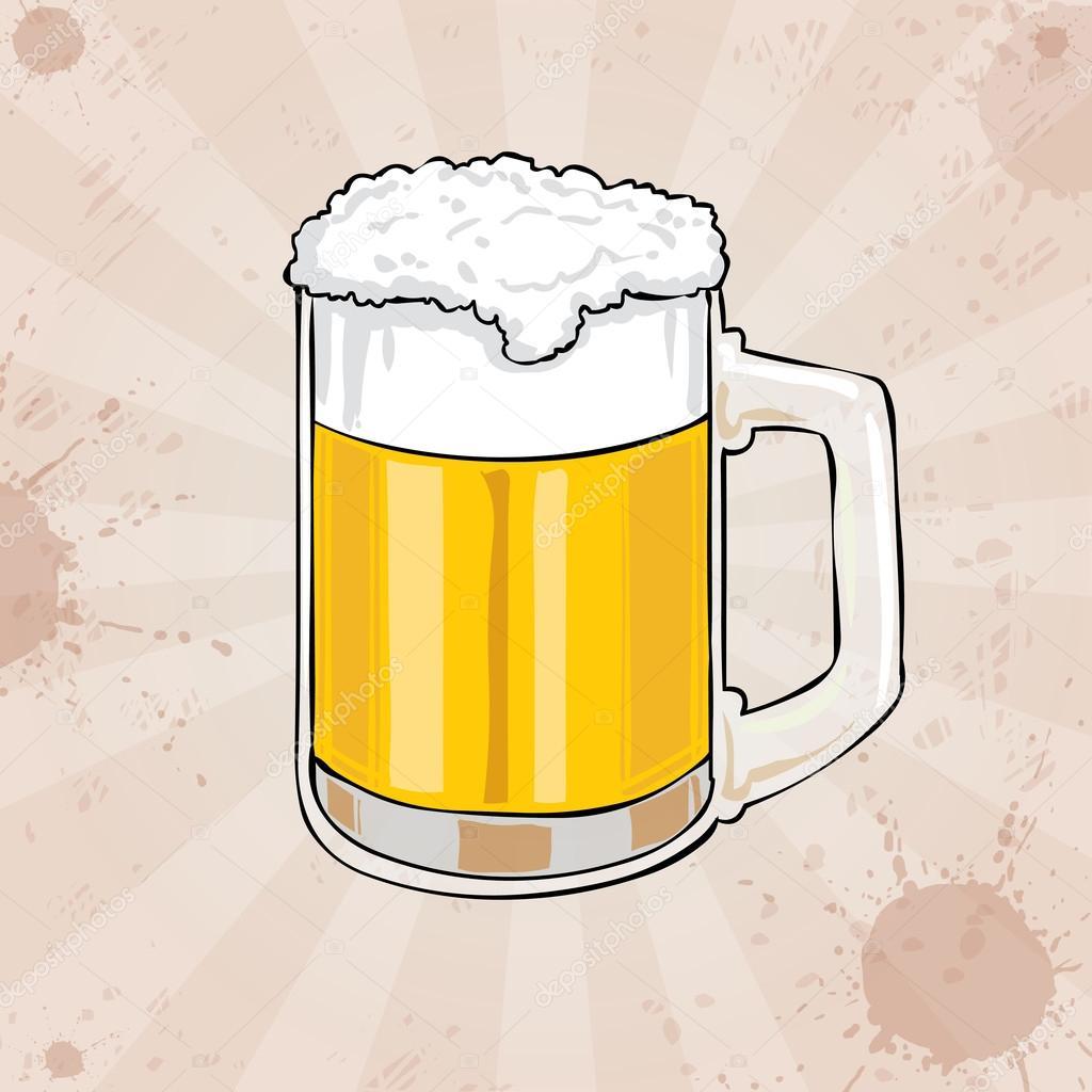 Delineato Il Boccale Di Birra Con Schiuma Vettoriali Stock