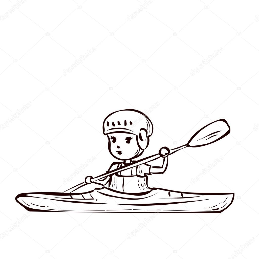 A Young Woman In Kayak Hand Drawn Cartoon Vector Illustration By Dergriza