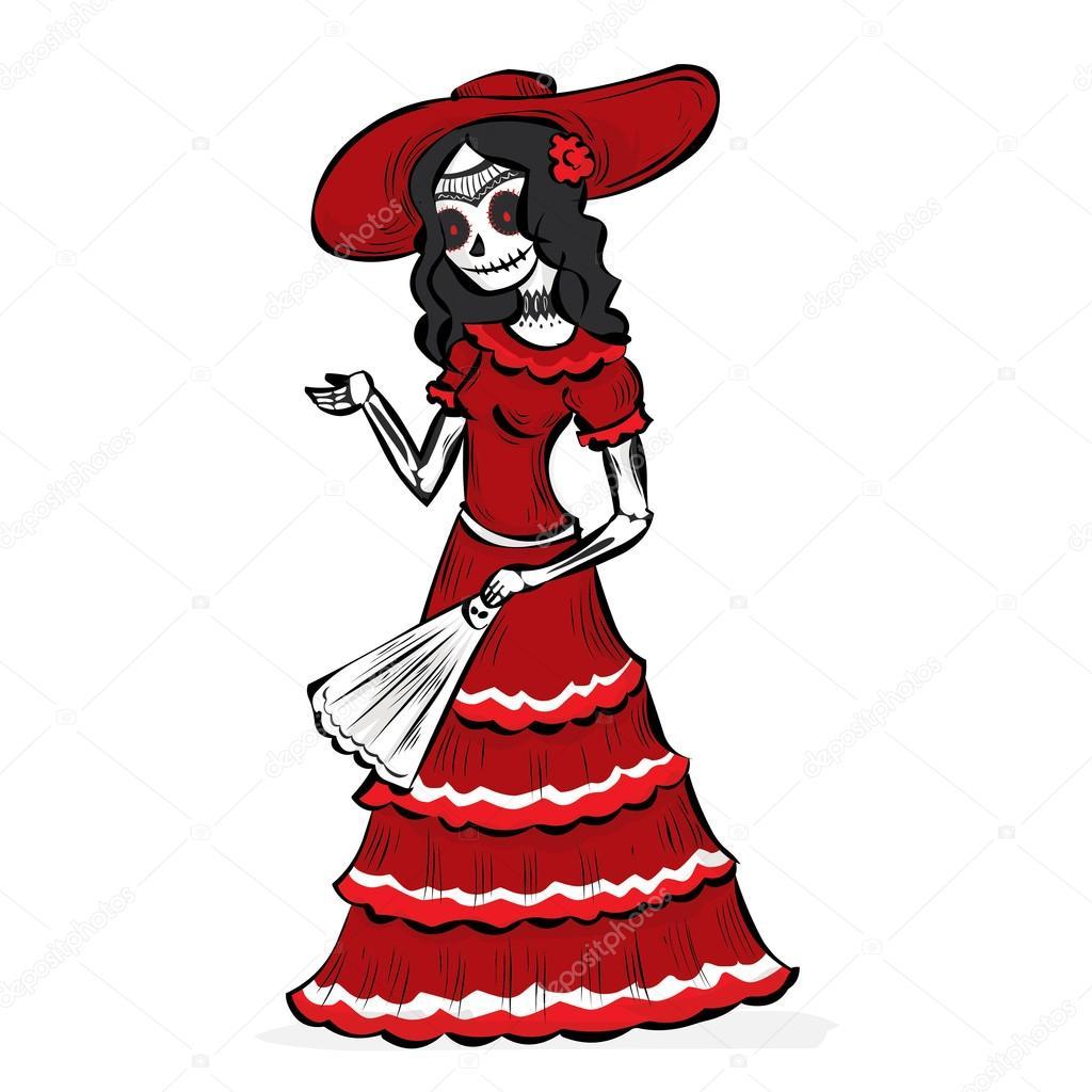 La Calavera Catrina Mexicaanse Traditie Stockvector Dergriza