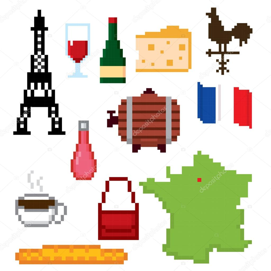 france culture symbols icons set stock vector dergriza 107746698. Black Bedroom Furniture Sets. Home Design Ideas