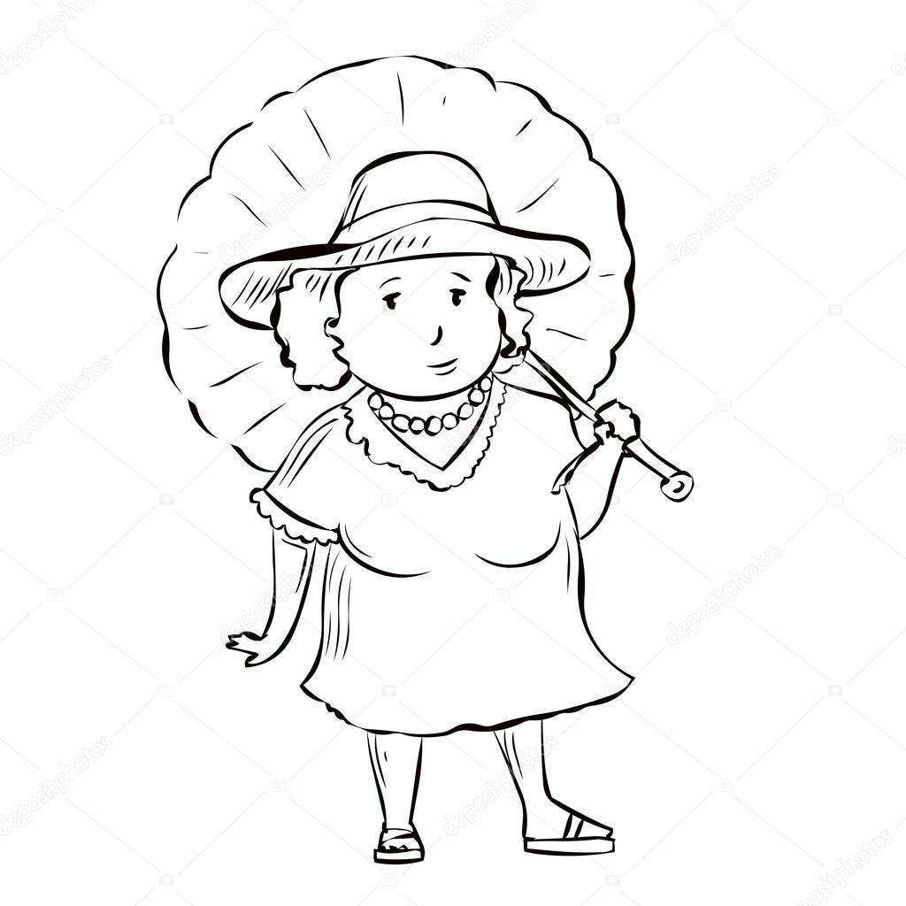 mujer de mediana edad con un paraguas — Archivo Imágenes Vectoriales ...
