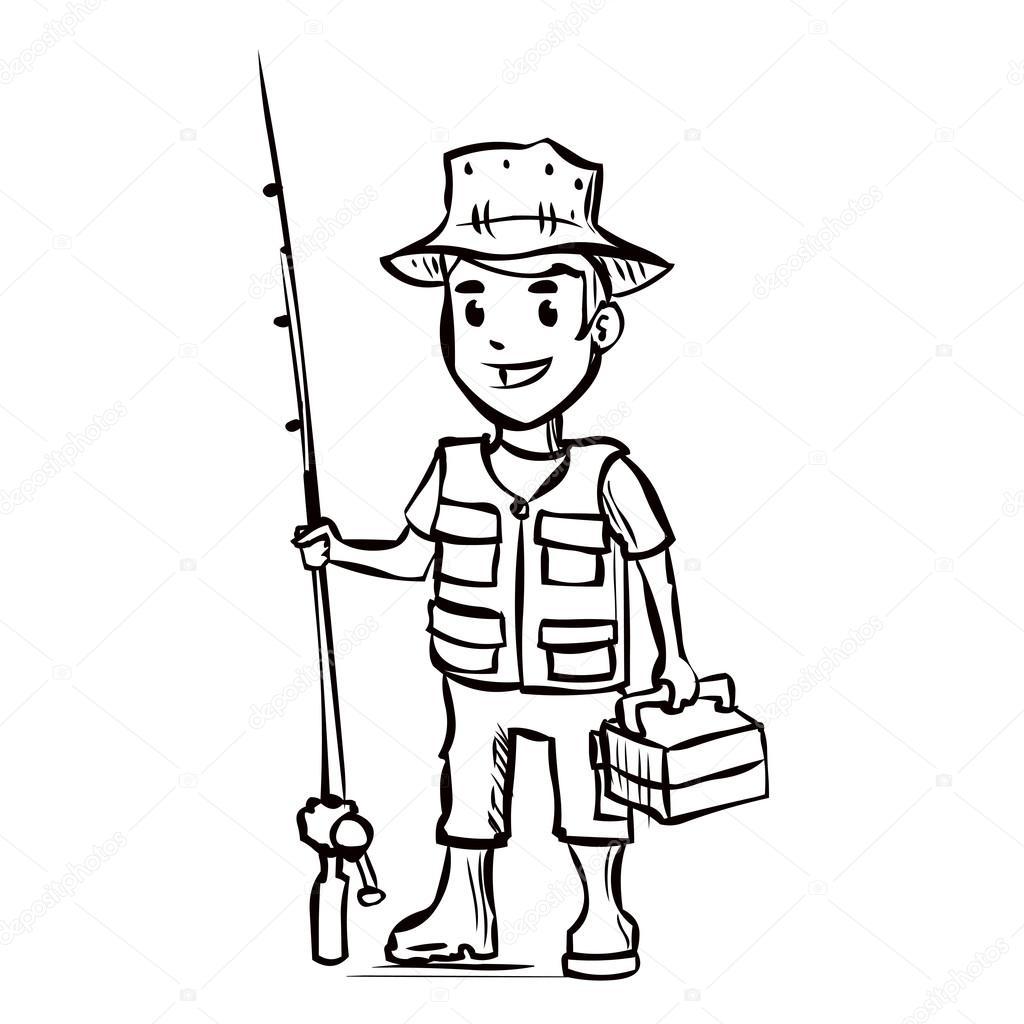 Fisherman Holding A Fishing Rod Stock Vector C Dergriza 107748094