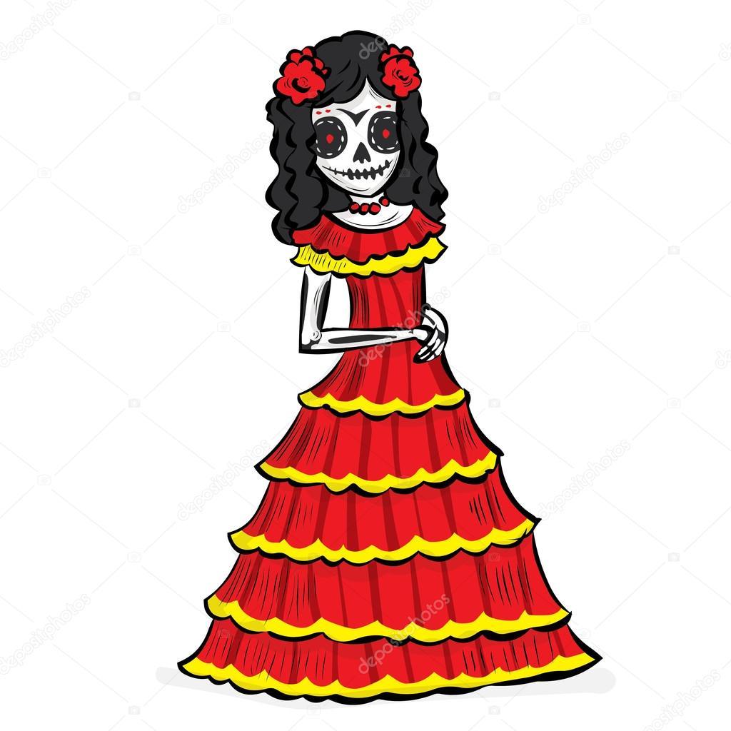 La Calavera Catrina Mexican Tradition Stock Vector