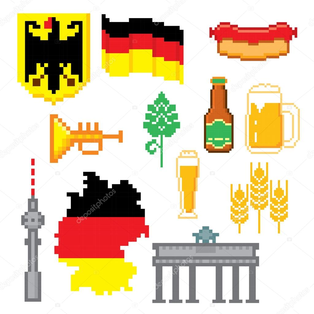 German Culture Symbols Icons Set Stock Vector Dergriza 107750072