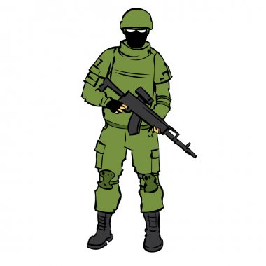Russian soldier with modern equipment.vector stock vector