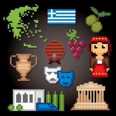 Greece culture symbols icons set.