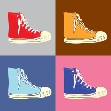 Outlined vintage sneakers