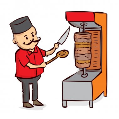 Arabic Food Chef, Shawarma, Doner, Kebab. Hand drawn cartoon vector illustration. clip art vector