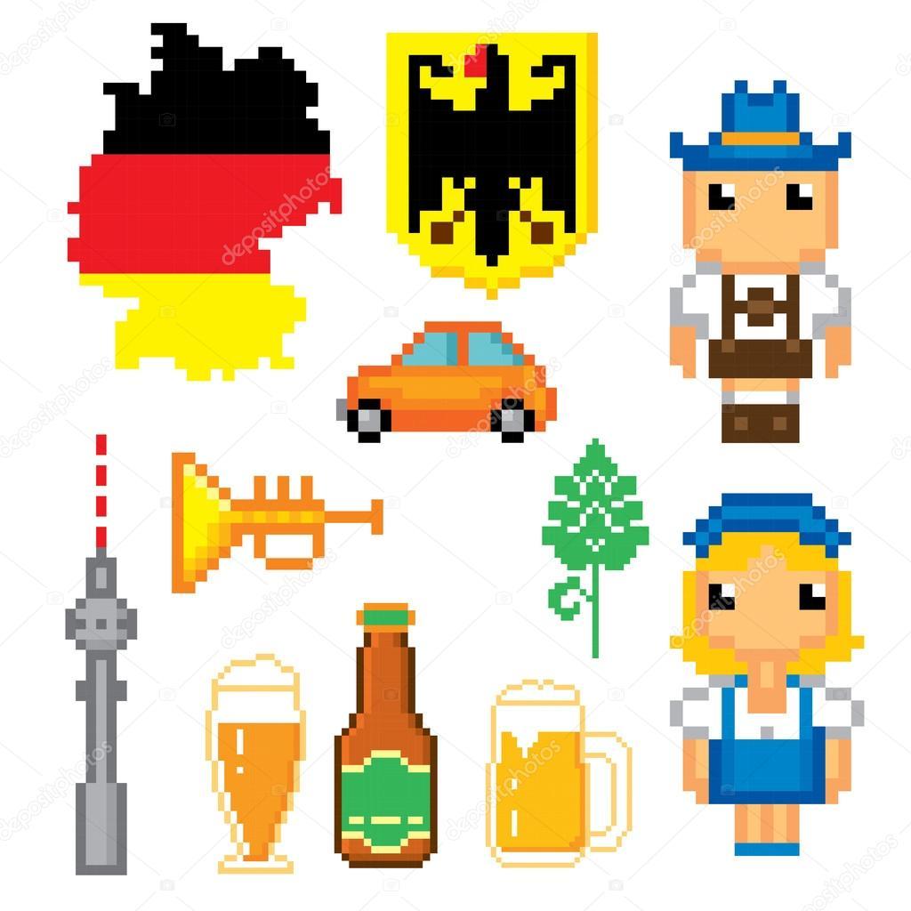 German Culture Symbols Icons Set Stock Vector Dergriza 107833178