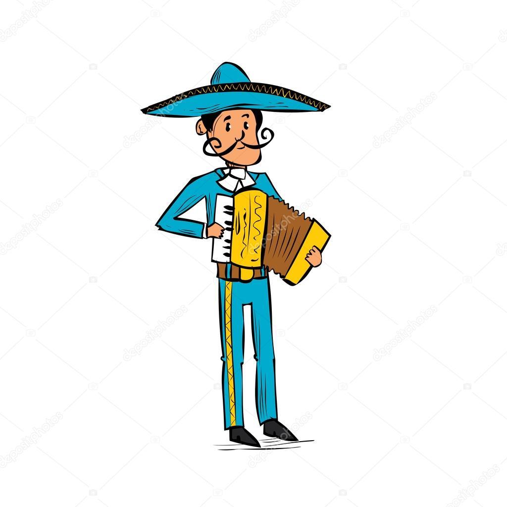 Hombre Mexicano Mariachi Tocando En Acordeón Archivo Imágenes