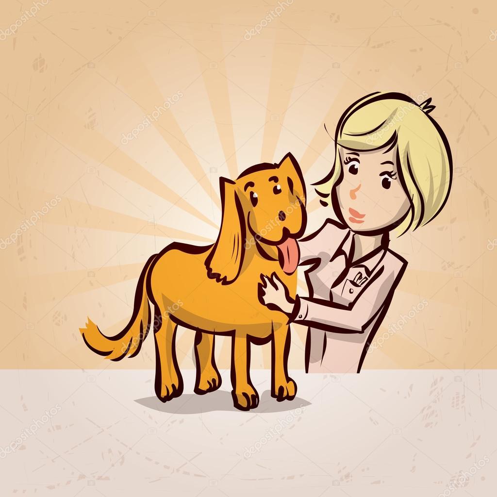 Personaje de dibujos animados de veterinario con perro — Archivo ...