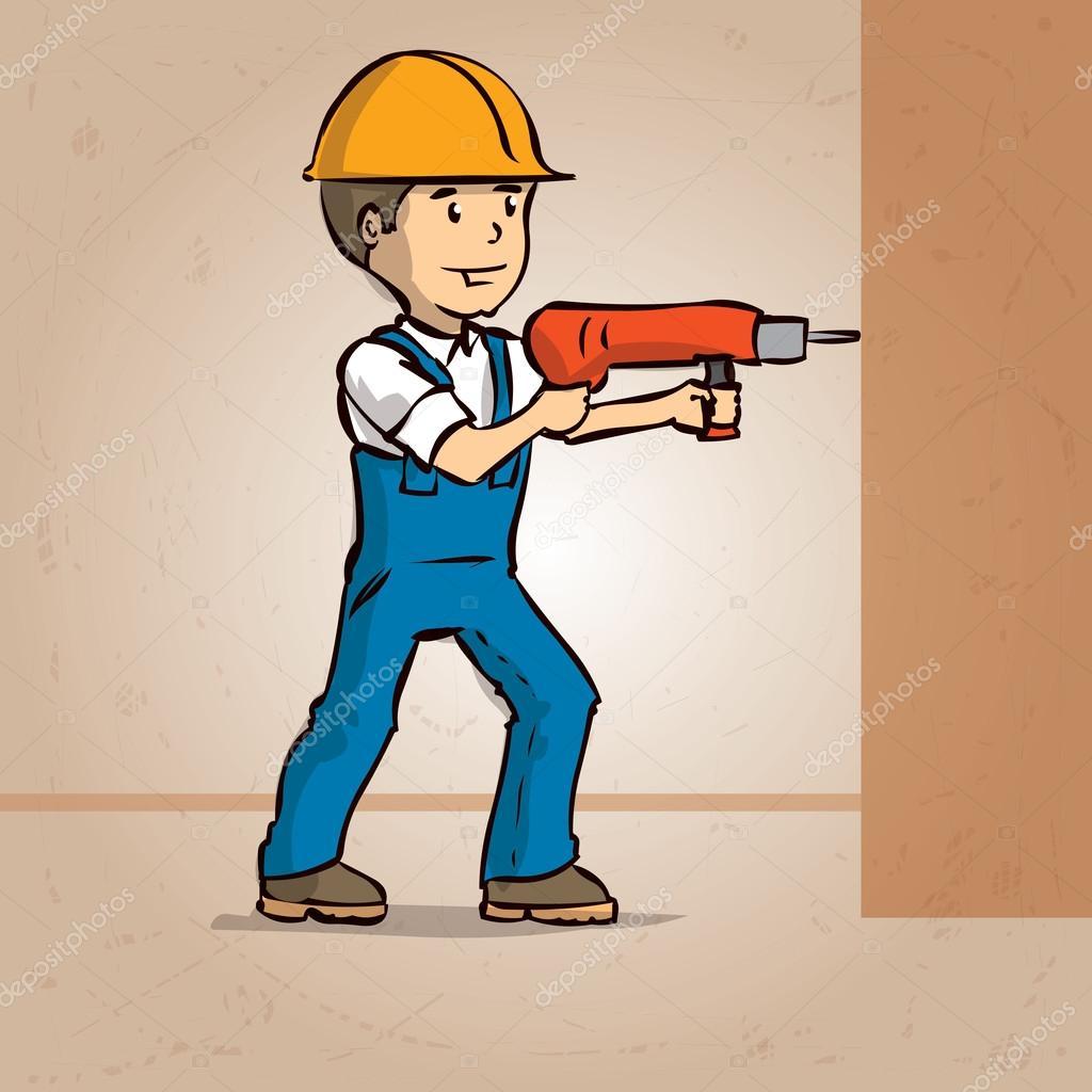 handyman drilling wall u2014 stock vector dergriza 107834764
