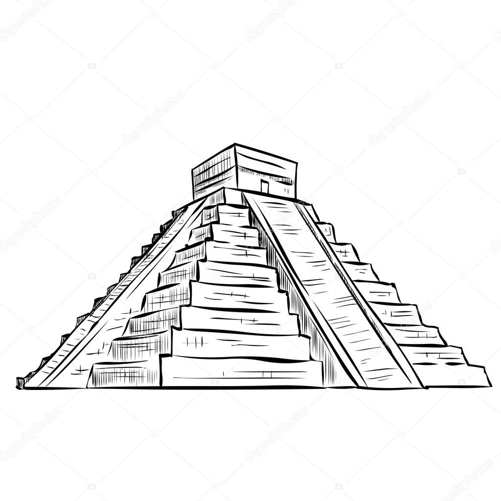 Vector Piramide Maya Dibujo Pirámide Maya Dibujado A Mano