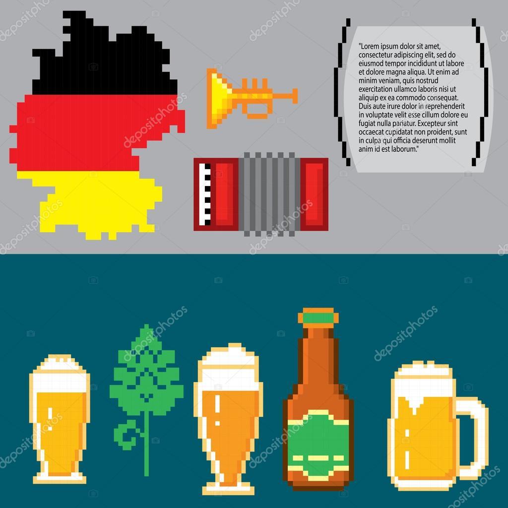German Culture Symbols Banners Pixel Art Stock Vector Dergriza