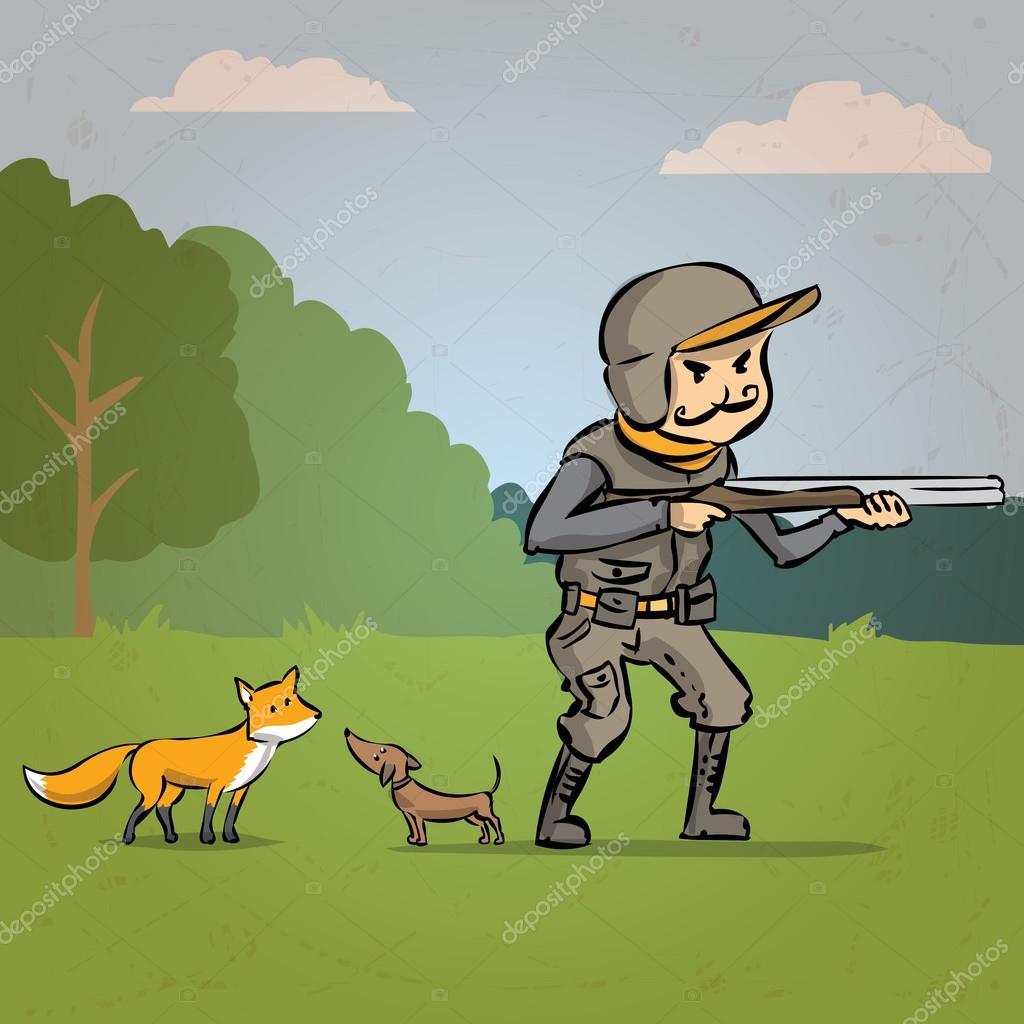 Cacciatore con un cane e una pistola cerca volpe u2014 vettoriali stock