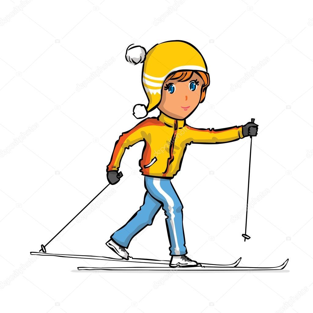 Esquiador de campo traviesa dibujada mano — Vector de stock ...