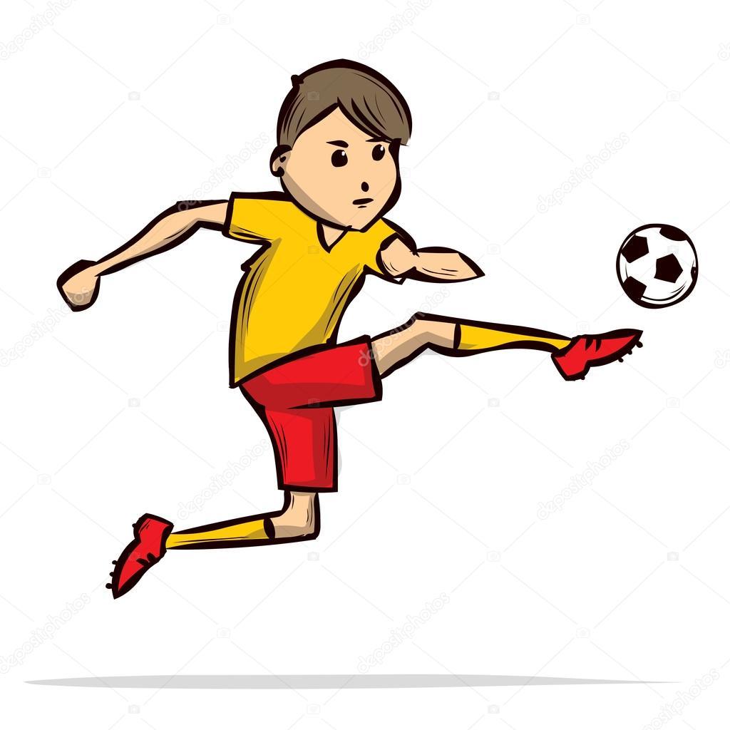 Giocatore di calcio cartone animato — vettoriali stock