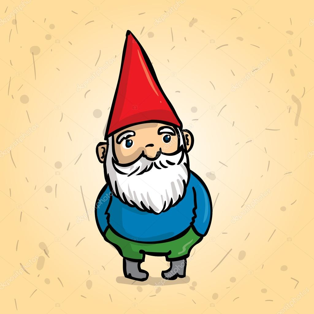 Hand drawn garden gnome. Hands in his pockets. Cartoon