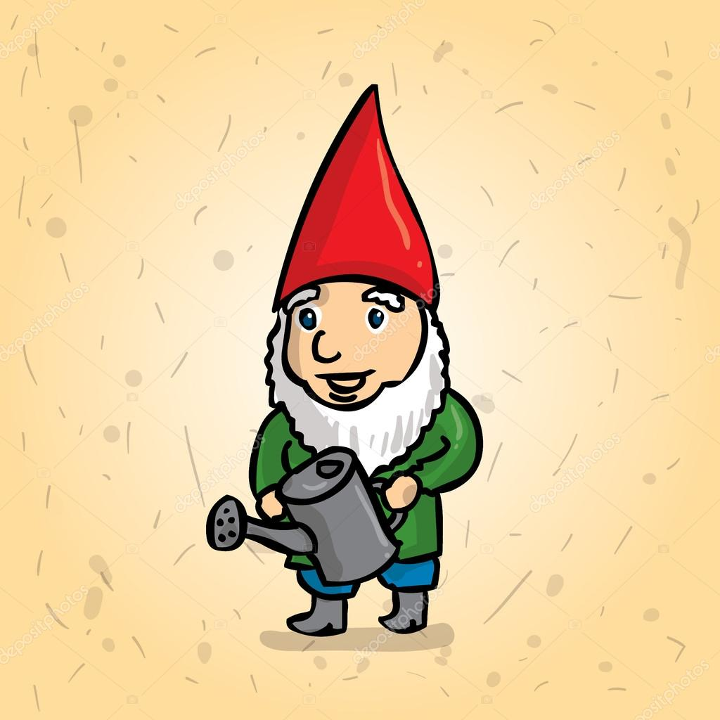 Hand drawn garden gnome with a watering can. Watering the