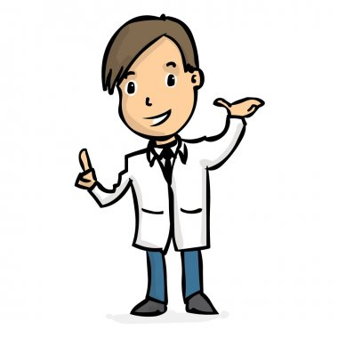 Hand drawn cheerful male doctor. Colorful vector illustration.