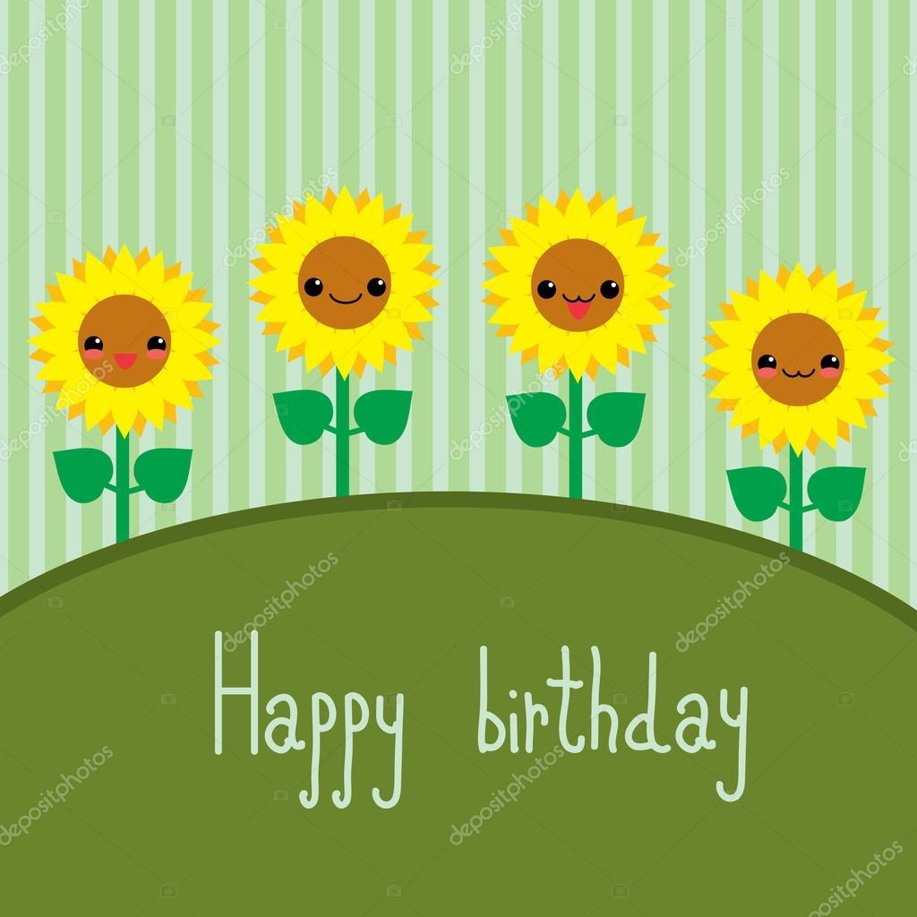 Cute greeting card with cartoon sunflowers. Kawaii japanese style.