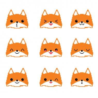 Cute foxes pixel emoticons set.