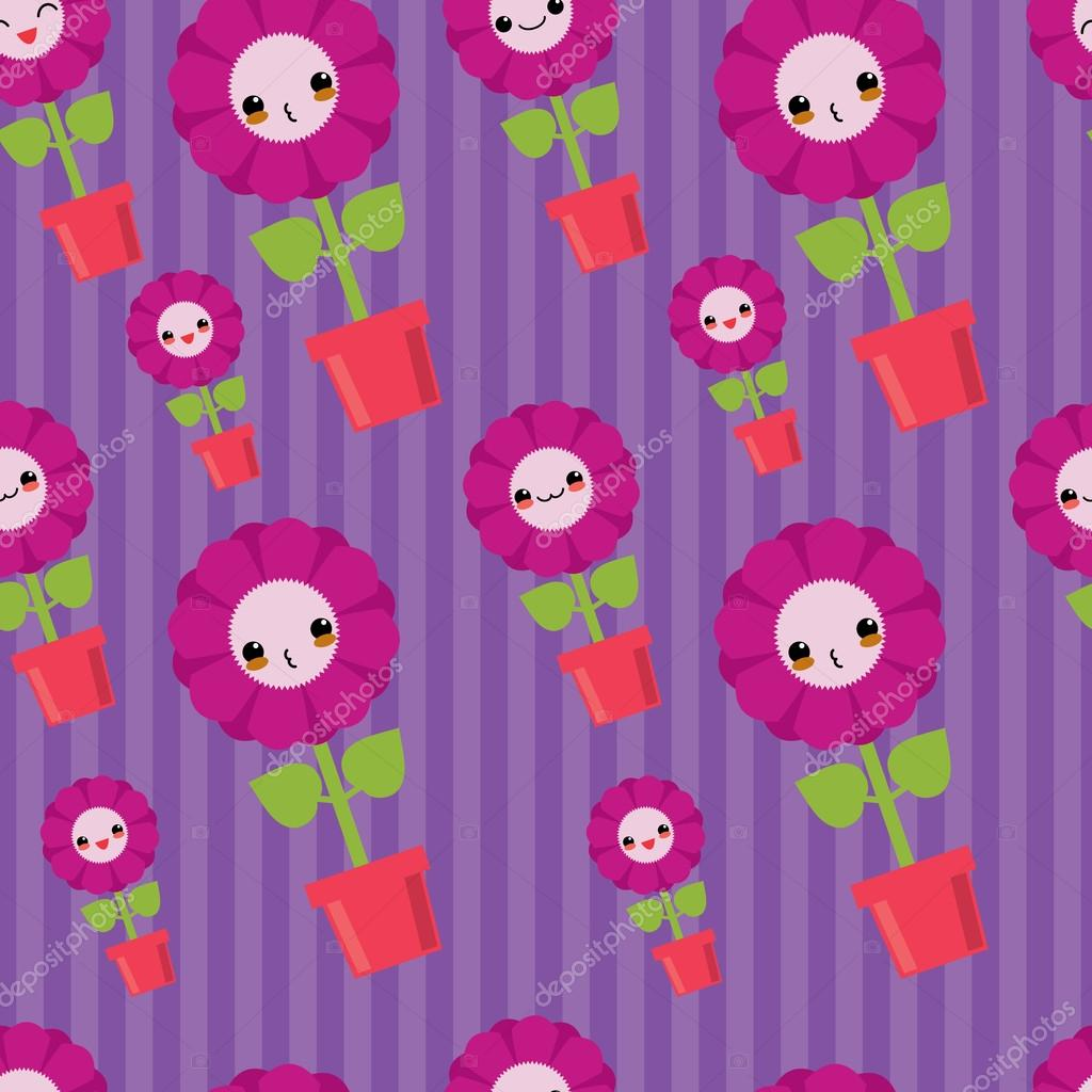Cute seamless pattern with cartoon flowers. Kawaii japanese style.