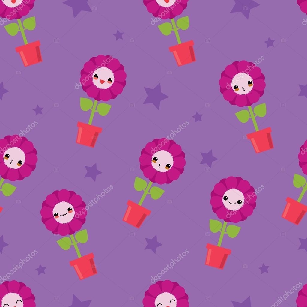 Cute seamless pattern with cartoon flowers. Kawaii japanese style.