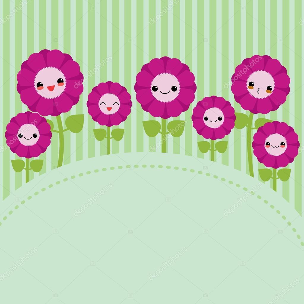 Cute greeting card with cartoon flowers. Kawaii japanese style.