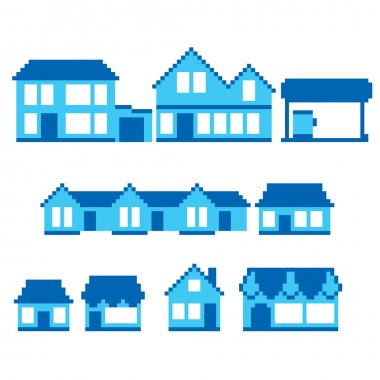 Pixel buildings icon set. Old school computer graphic style.