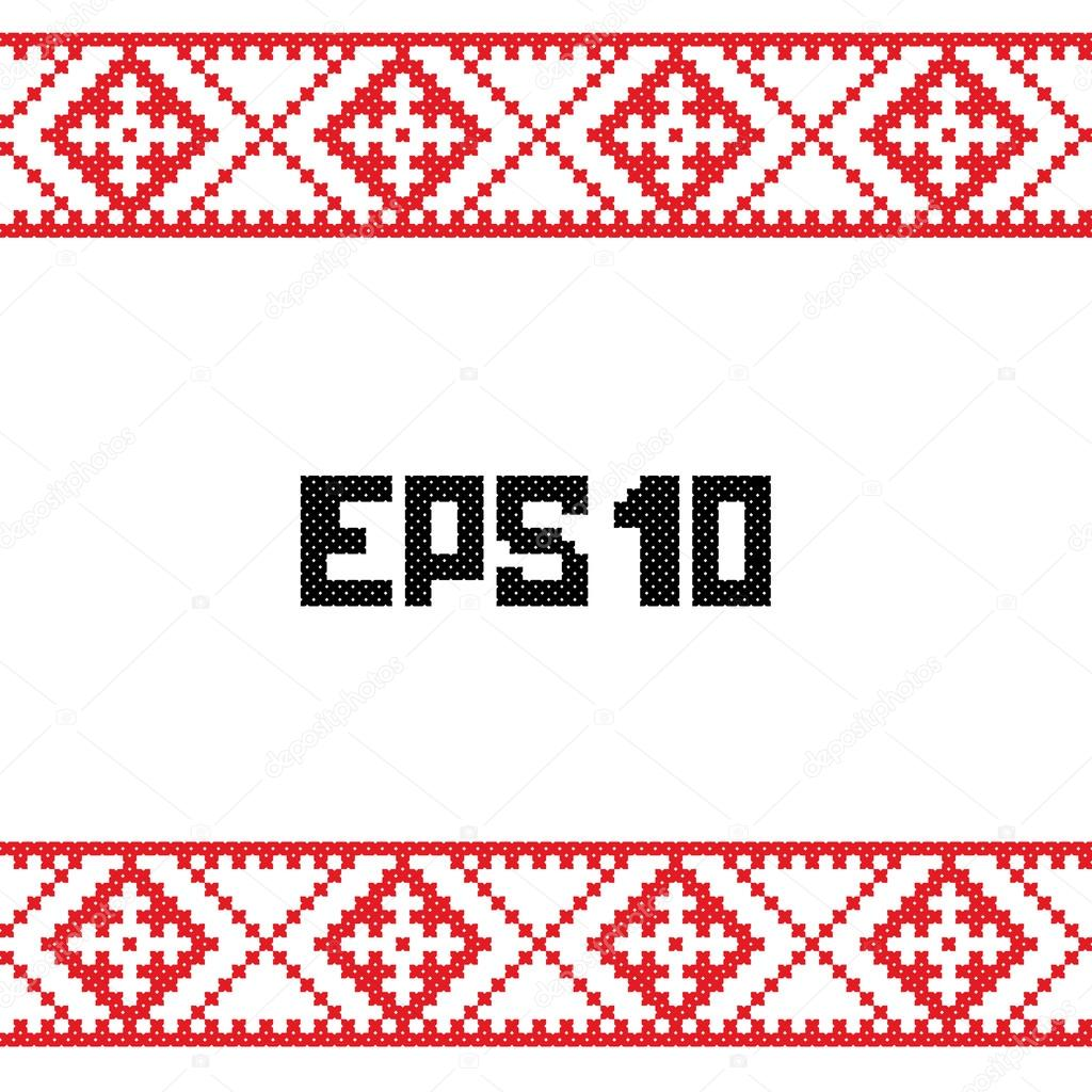 Ukrainian, belarusian, russian, Slavic red and black traditional folk embroidery seamless pattern