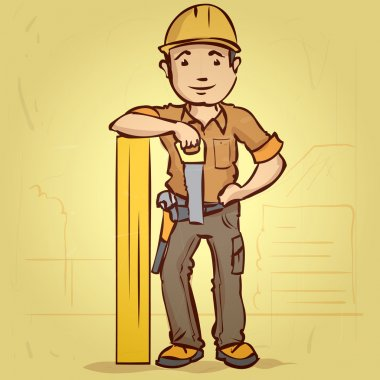 Smiling carpenter standing rests on board. Hand drawn cartoon vector illustration.