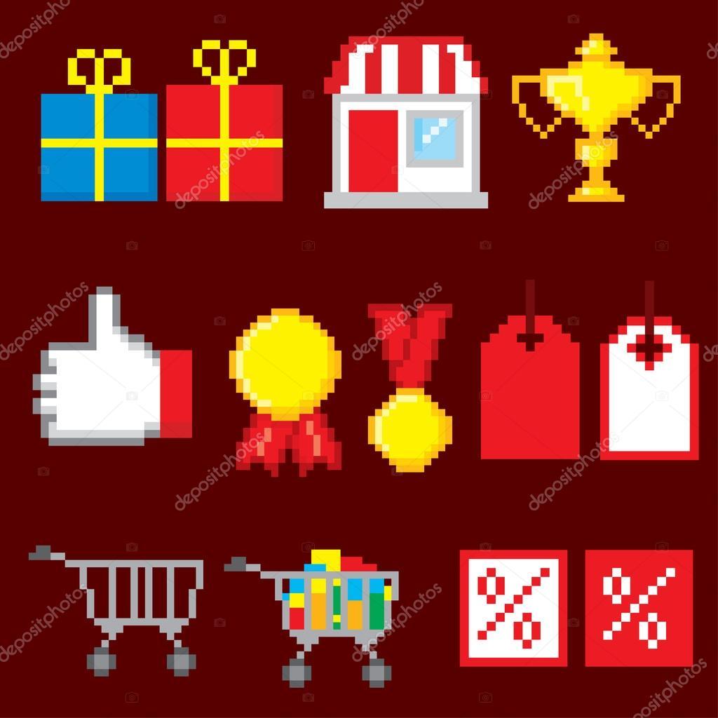 Shopping Pixel Icons Set. Pixel Art. Old School Computer
