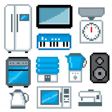 Household appliances icon set. Pixel art. Old school computer graphic style.
