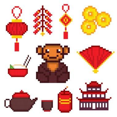 China culture symbols icons set
