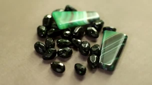 agate and aventurine green mineral stones are rotating