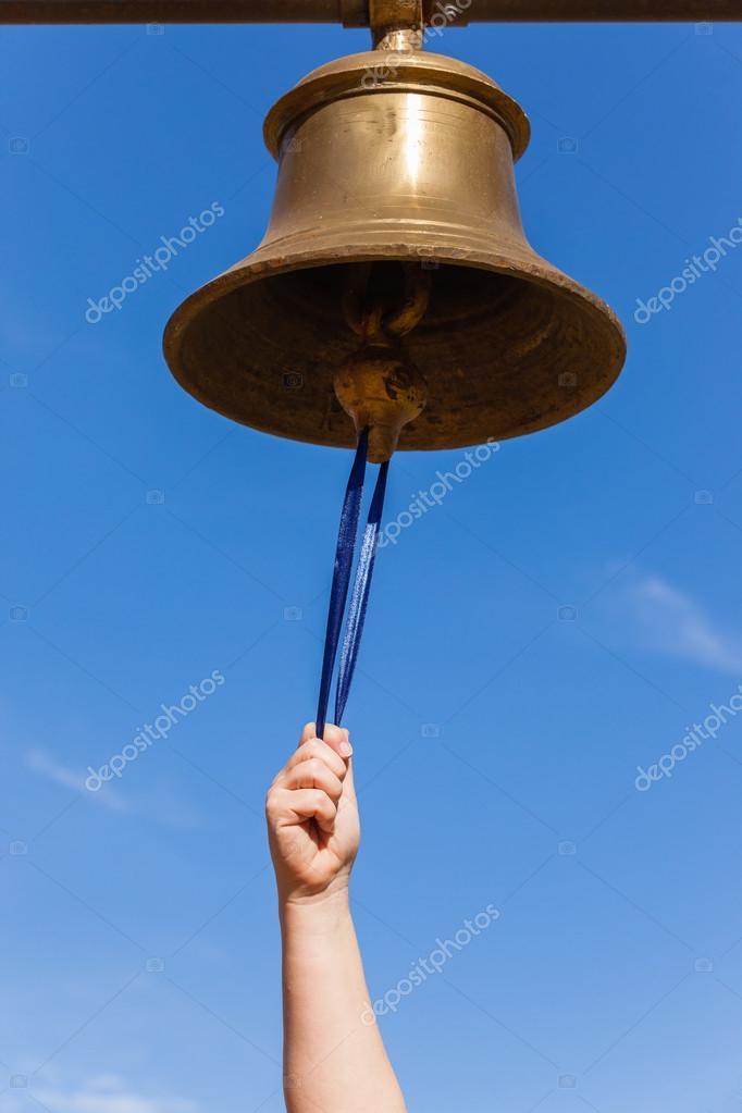 Brass Bell Hand — Stock Photo © ChrisVanLennepPhoto #120081054