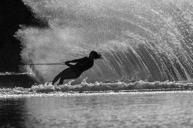 Water-Skiing Girl Action Black White