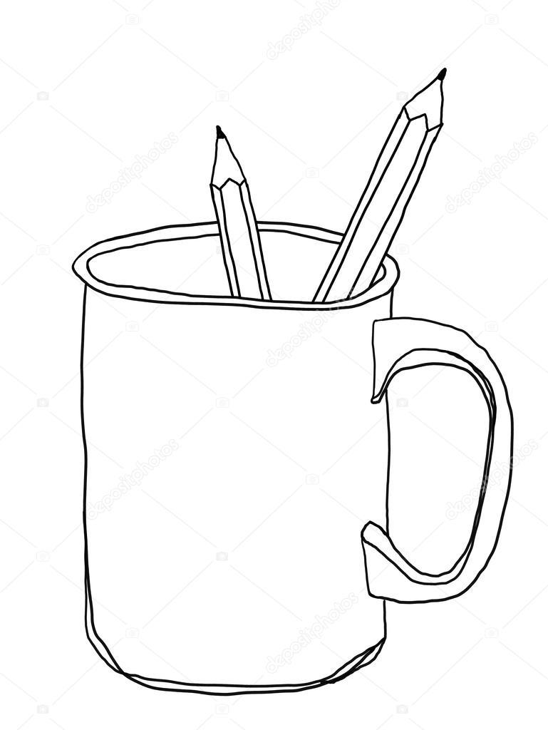 Kubek Kubek Kamionkowe I Ołówek ładny Wiersz Ilustracja