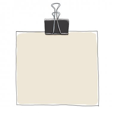 Binder Clips and blank Paper painting illustration