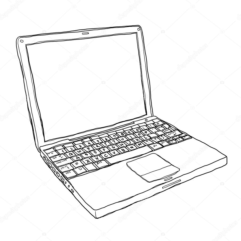 Boyama Kitabı Dizüstü Bilgisayar Karakteri Işaret Eden Karikatür
