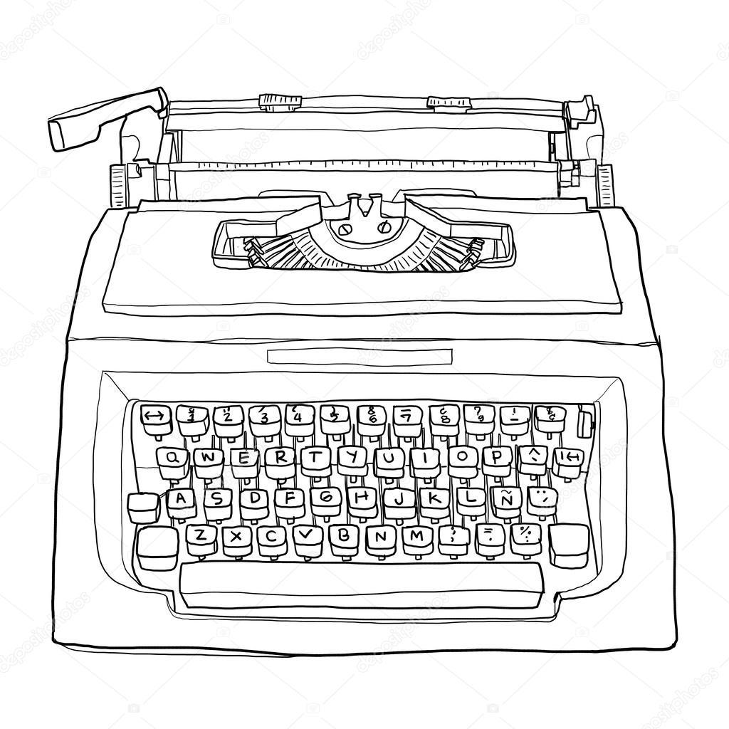 red vintage typewriter cute line art painting  illustration